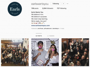 Earls Employer Brand on Social Media