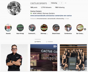 Cactus Club Employer Brand on Social Media