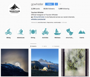 Tourism Whistler Employer Brand on Instagram